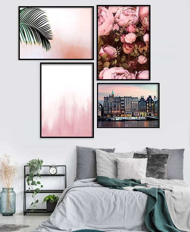 Multipanel | Pink Marble, Φλοράλ, Amsterdam, Pink Roses
